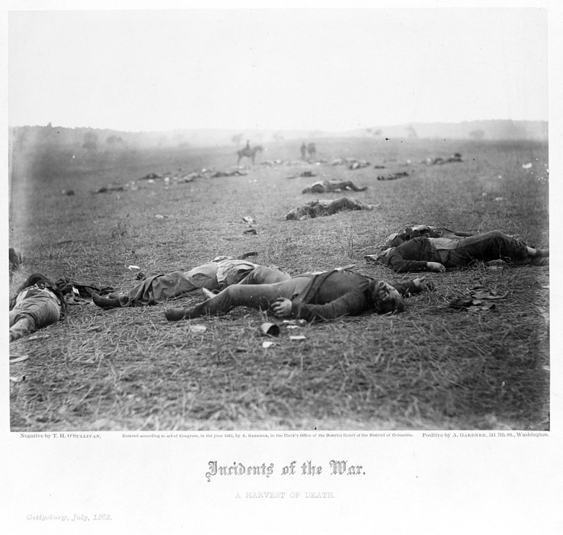. Incidents of the war. A harvest of death, Gettysburg, July, 1863. Dead Federal soldiers on battlefield at Gettysburg, Pennsylvania.  - Library of Congress Prints and Photographs Division Washington, D.C.