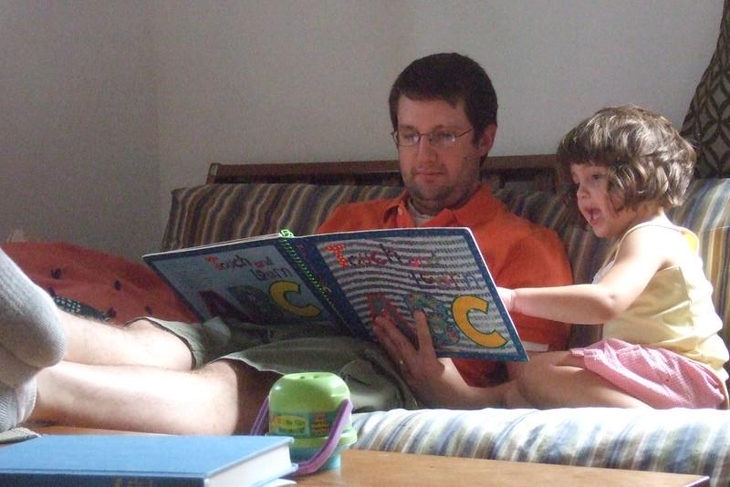 Guen teaches Joe her own version of the alphabet.