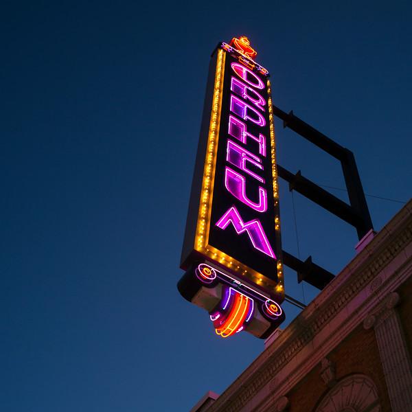 Neon sign illuminated at Orpheum Theater, Minneapolis, Hennepin County, Minnesota, USA