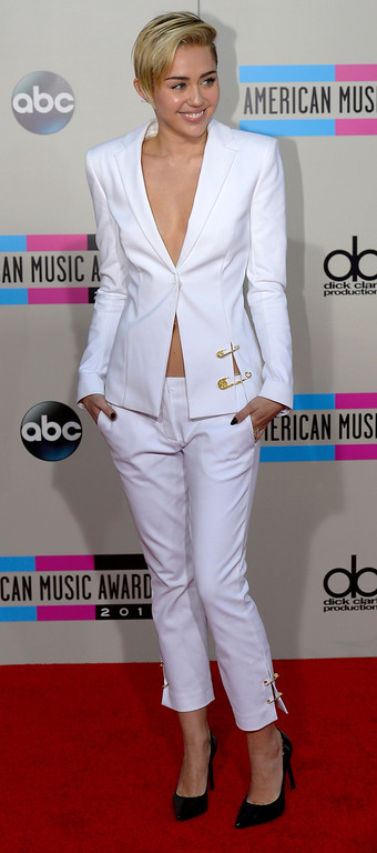 . Miley Cyrus arrives to the American Music Awards  at the Nokia Theatre in Los Angeles, California on Sunday November 24, 2013 (Photo by Andy Holzman / Los Angeles Daily News)
