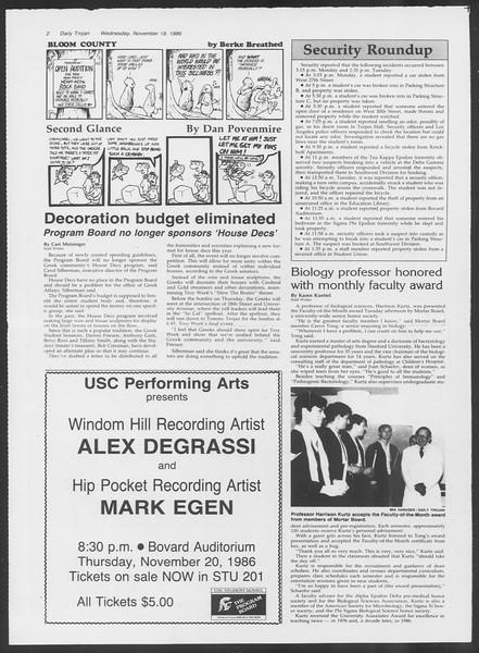 Daily Trojan, Vol. 102, No. 56, November 19, 1986