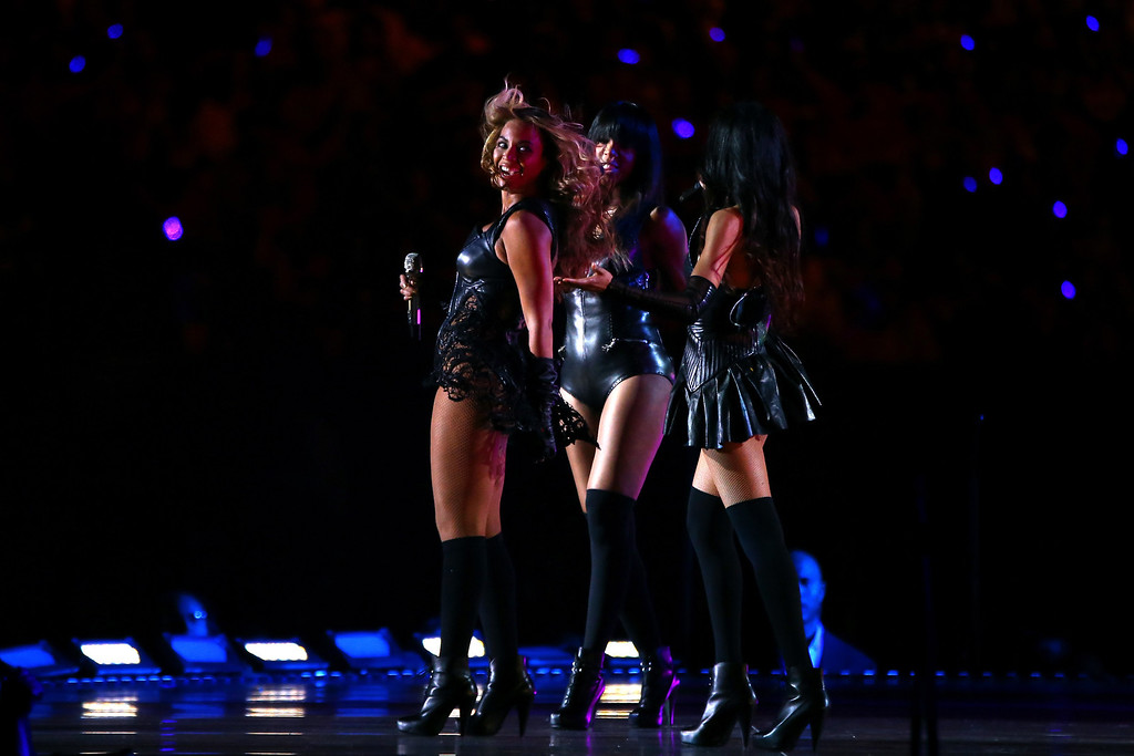 . Singers Beyonce, Kelly Rowland and Michelle Williams perform during the Pepsi Super Bowl XLVII Halftime Show at the Mercedes-Benz Superdome on February 3, 2013 in New Orleans, Louisiana. (Photo by Al Bello/Getty Images)