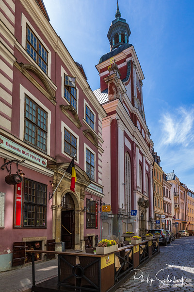 Riga,Latvia - May 15, 2019: Street scenes of Old Town Riga on a bright sunny spring Day. The city has many delighfully restored buildings.