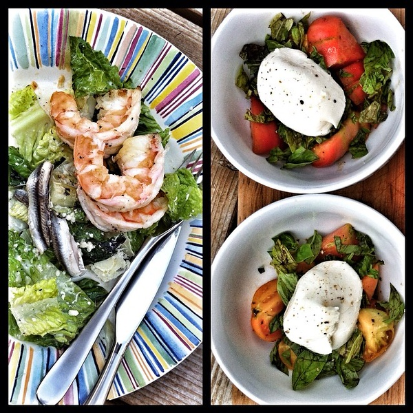 On the table tonite: grilled shrimp #Caesar salad; backyard #caprese salad with #buratta #jux #foodie #foodgram