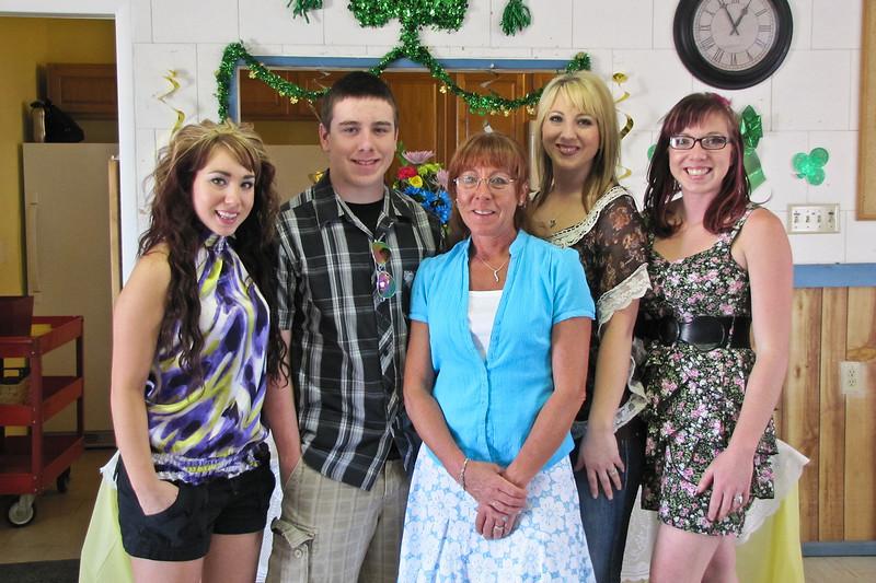Cheri Culy and kids: Ashley, Jordan, Cheri, Allison, and Leah. Wanda and Willie Moeller's 50th Wedding Anniversary Celebration, Gila Mt. RV Park, Yuma, AZ. Mar. 10, 2012.