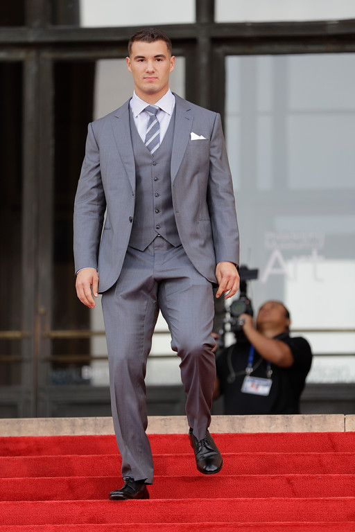 . North Carolina\'s Mitch Trubisky arrives for the first round of the 2017 NFL football draft, Thursday, April 27, 2017, in Philadelphia. (AP Photo/Julio Cortez)