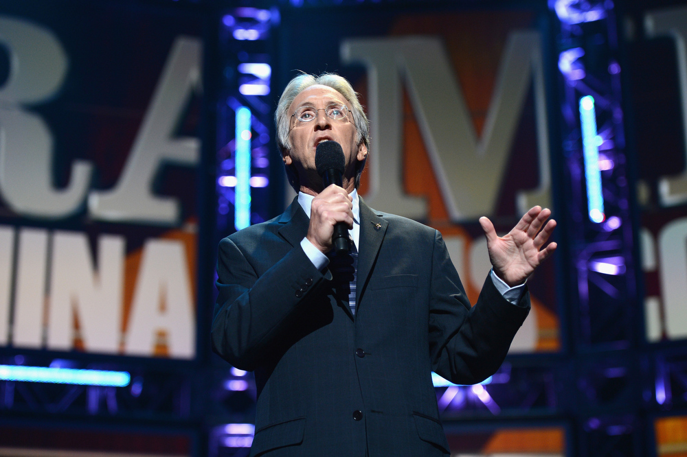Description of . President/CEO of The Recording Academy Neil Portnow speaks onstage at The GRAMMY Nominations Concert Live!! held at Bridgestone Arena on December 5, 2012 in Nashville, Tennessee.  (Photo by Michael Kovac/Getty Images)
