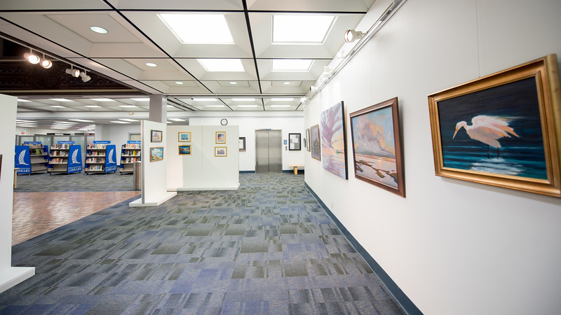 Artwork by Jeffery Neel McDaniel on display in the Mary and Jeff Bell Library.