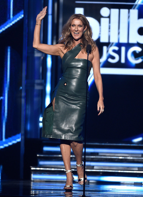 . Celine Dion presents the award for top male artist at the Billboard Music Awards at the MGM Grand Garden Arena on Sunday, May 17, 2015, in Las Vegas. (Photo by Chris Pizzello/Invision/AP)