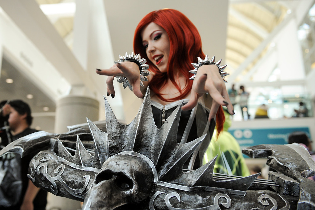 . Sarah Kulyk is dressed as Pentakill Sona at the Anime Expo at the L.A. Convention Center, Saturday, July 6, 2013. (Michael Owen Baker/L.A. Daily News)