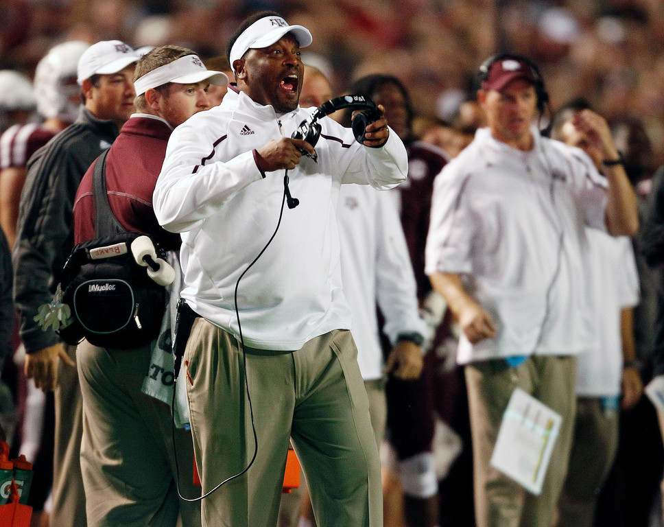 . Texas A&M head coach Kevin Sumlin yells from the sidelines during the first half of an NCAA college football game against UTEP, Saturday, Nov. 2, 2013 in College Station, Texas. (AP Photo/Eric Christian Smith)