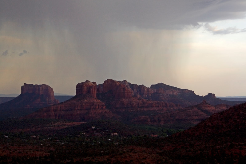 A monsoon hits the buttes around Sedona.