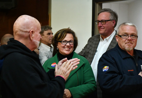 11/5/2019 Mike Orazzi | StaffrDemocrat Ellen Zoppo-Sassu at the Polish Club on Tuesday night.