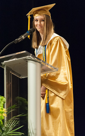 06/21/18 Wesley Bunnell | Staff Newington High School 2018 Salutatorian Jessica Buslewicz gives her address during the school's commencement ceremony at The Oakdale Theatre on Thursday evening.