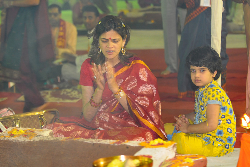Neerja Birla, wife of Kumarmangalam Birla and their daughter performing havan Chinmaya Mission Mumbai's Maha Jnana Yajna and 108 Samashti Havan. Chant Mumbai. Shaant Mumbai.Thousands of Mumbaikars came together on Sunday, 15th Feb 2009 to jointly chant 'Hanuman Chalisa', at a congregation called 'Chant Mumbai Shaant Mumbai'. The congregation was organised by Chinmaya Mission at Andheri Sports Complex for the peace and prosperity for the city of Mumbai.