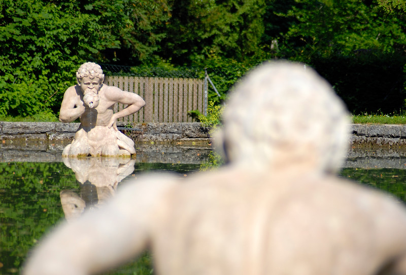 Pond in Pleasure Garden (Ziergarten) of Hellbrunn Palace in Salzburg, Austria