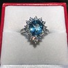 3.30ctw Aquamarine and Diamond Cluster Ring 24