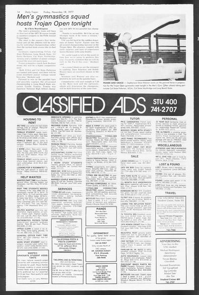 Daily Trojan, Vol. 72, No. 43, November 18, 1977
