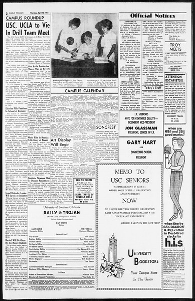 Daily Trojan, Vol. 55, No. 99, April 16, 1964