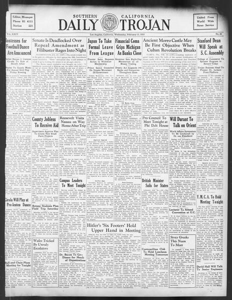 Daily Trojan, Vol. 24, No. 86, February 15, 1933