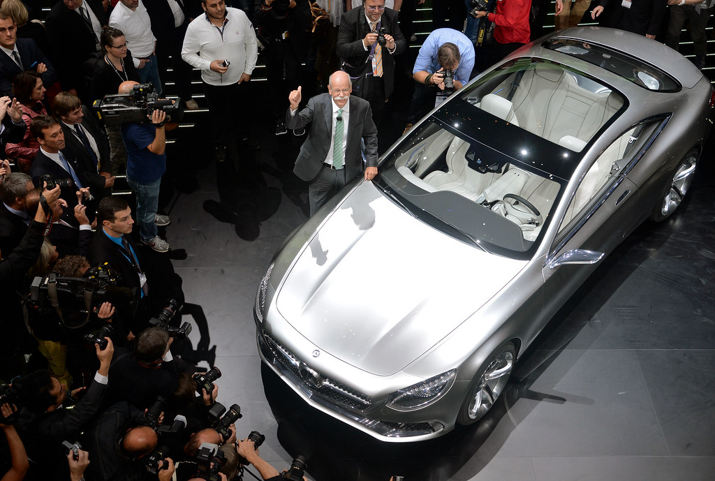 . Chairman of the board of german auto giant Daimler AG Dieter Zetsche presents the new Mercedes S-Class Coupe concept car at the IAA international automobile show on September 10, 2013 in Frankfurt, Germany.  (Photo by Thomas Lohnes/Getty Images)