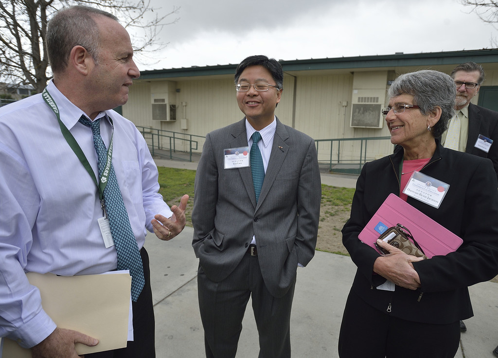 . LONG BEACH, CALIF. USA -- California Senate President pro Tem Darrell Steinberg (D-Sacramento), left, Senator Ted Lieu (D- Torrance), center, and Hannah-Beth Jackson (D-Santa Barbara) chat during a visit to Cabrillo High School in Long Beach, Calif., on March 5, 2013. About 20 state senators toured classrooms at the West Long Beach school as part of the Senate Education Policy Conference. Photo by Jeff Gritchen / Los Angeles Newspaper Group