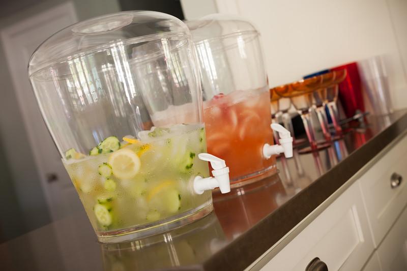 Cucumber and lemon water, strawberry lemonade...and mom will be making margaritas