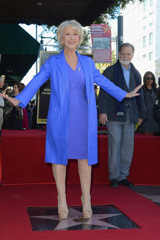 . Actress   Helen Mirren, watched on by husband director Taylor Hackford, was Honored On The Hollywood Walk Of Fame with her own star on January 3, 2013 in Hollywood, California.  (Photo by Frazer Harrison/Getty Images)