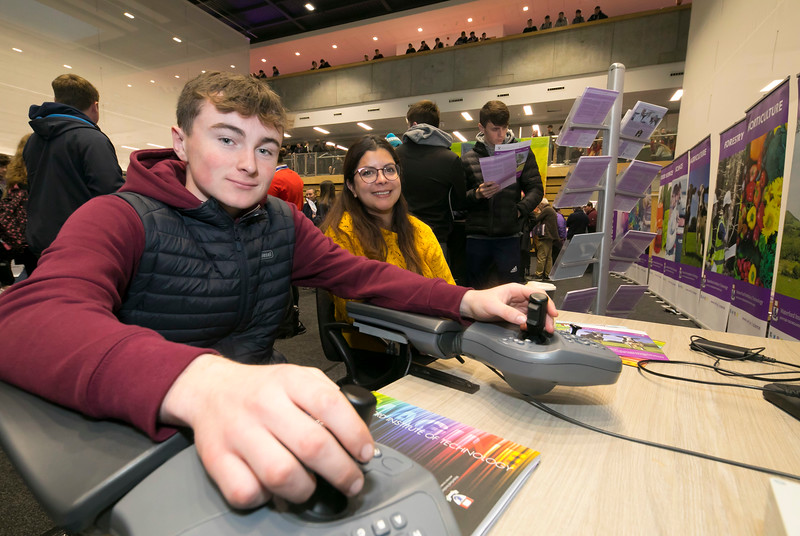 FREE TO USE IMAGE. Pictured at WIT's Autumn Open Days in the WIT Arena are Jack Byrne Colaiste Chill Mhantain, Wicklow and Amanda Sosa WIT Researcher. Picture: Patrick Browne  WIT's Autumn Open Days in the WIT Arena were on Friday, 23 November and Saturday, 24 November 2018. The Schools Open Day on Friday attracted thousands of secondary school students.  The event focused on undergraduate entry for September 2019 but also showcases the opportunities for postgraduate learning and research and flexible study through our School of Lifelong Learning & Education.  The institute has 70 CAO courses across a range of discipines including,business,engineering and architecture, sports and nursing, law, social sciences, arts and psychology, the creative & performing arts, languages, tourism and hospitality, science and computing.   WIT's Autumn Open Days included presentations on all CAO courses, including new courses for 2019, as well as the opportunity to experience what it would be like to study on those courses and talk to lecturers directly.