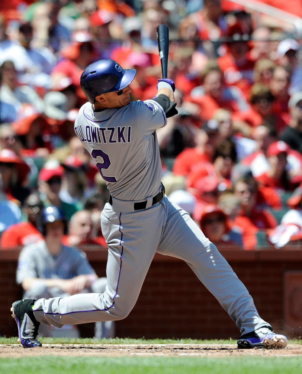 . Colorado Rockies\' Troy Tulowitski (2) watches his three-run home run against the St. Louis Cardinals in the third inning in a baseball game on Sunday, May 12, 2013, at Busch Stadium in St. Louis. (AP Photo/Bill Boyce)