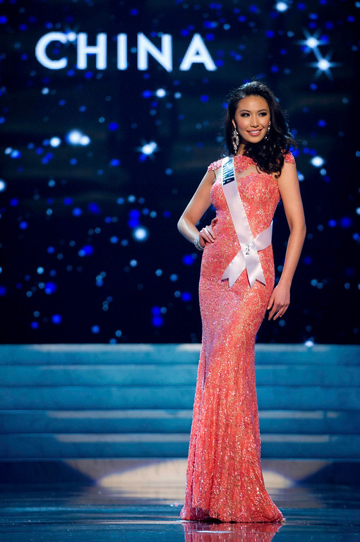 . Miss China 2012 Ji Dan Xu competes in an evening gown of her choice during the Evening Gown Competition of the 2012 Miss Universe Presentation Show in Las Vegas, Nevada, December 13, 2012. The Miss Universe 2012 pageant will be held on December 19 at the Planet Hollywood Resort and Casino in Las Vegas. REUTERS/Darren Decker/Miss Universe Organization L.P/Handout