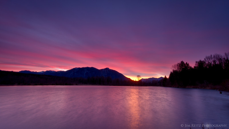 Sunrise on the mill pond in Snoqualmie, Washington.