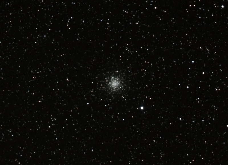 Messier M69 - NGC6637 - Globular Cluster in Sagittarius - 18/8/2012 (Processed cropped stack)   DeepSkyStacker 3.3.2 Stacked 85% of 15 Images ISO 800 60 Sec, 66 DARK @ 120 Sec, 53 BIAS, 0 FLATS, Post-processed by Photoshop CS5   Telescope - Bintel BT200 f/4.0 Newtonian (borrowed from Stephen Boyd) with Baader MPCC Coma Corrector, Hutech LPS-P2 filter, Canon 40D DSLR field 64'x95', Ambient 10-11C. Mount - Skywatcher NEQ6 Pro. Guidescope - Orion ShortTube 80 with Star Shoot Auto Guider.