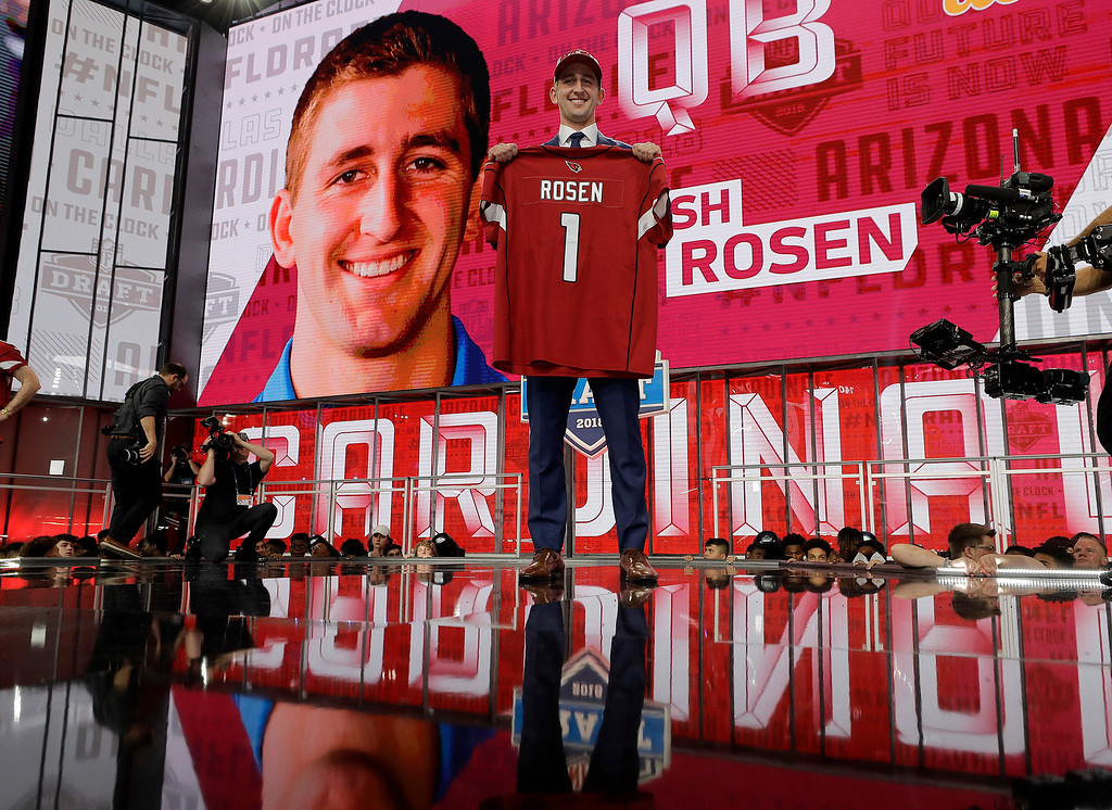 . UCLA\'s Josh Rosen poses with his Arizona Cardinals team jersey during the first round of the NFL football draft, Thursday, April 26, 2018, in Arlington, Texas. (AP Photo/David J. Phillip)