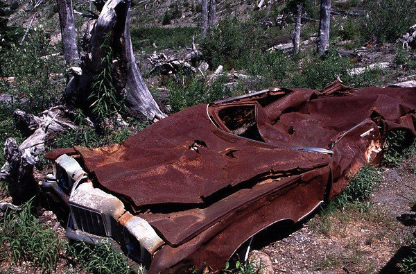 Pontiac sedan crushed and burned in the May 18, 1980 eruption of Mount St. Helens, taken on July 10, 2004.