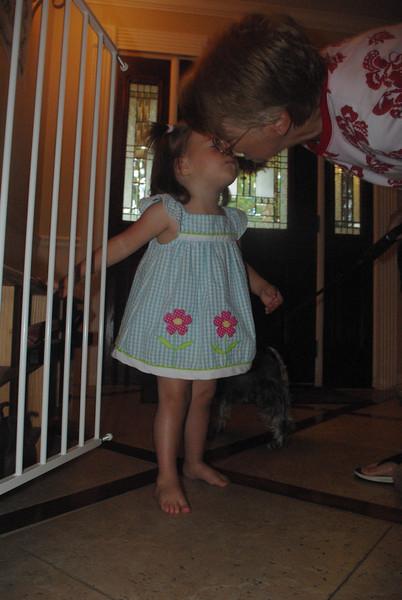 Giving Nana a kiss