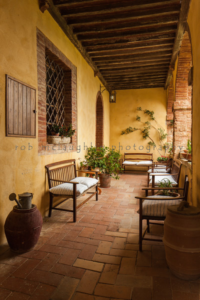 Tuscan Porch in Morning Light , Lucignano d'Asso , Tuscany