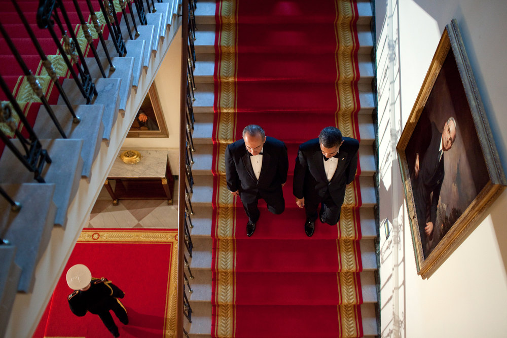 ". May 19, 2010 ""I had recently watched an old National Geographic documentary film on the White House and adapted the idea of shooting this angle from a scene in the film as the President and President Felipe Calderon of Mexico descended the Grand Staircase before a State Dinner at the White House.\"" (Official White House Photo by Pete Souza)"