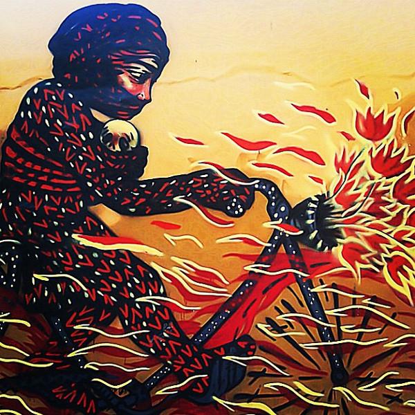 Graffiti: Cyclist flowers en fuego #Oaxaca #Mexico