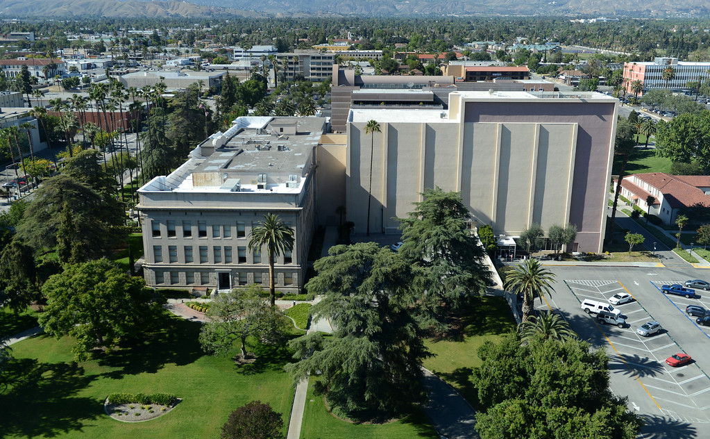 . A view of the historic San Bernardino Superior Courthouse from the new San Bernardino Justice Center in downtown San Bernardino, CA, Monday, April 28, 2014. (Photo by Jennifer Cappuccio Maher/Inland Valley Daily Bulletin)