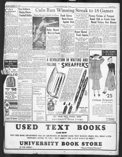Daily Trojan, Vol. 27, No. 2, September 23, 1935