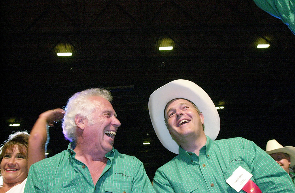 . Denver Post owner Dean Singleton at the Colorado State Fair with Jake Jabbs in Pueblo during the livestock auction. Craig F. Walker / The Denver Post