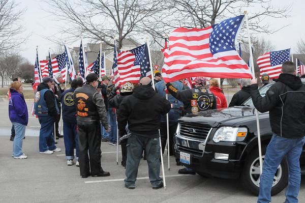 Patriot Guard welcome home Matthew Dickman in Joliet, IL 4-6-13