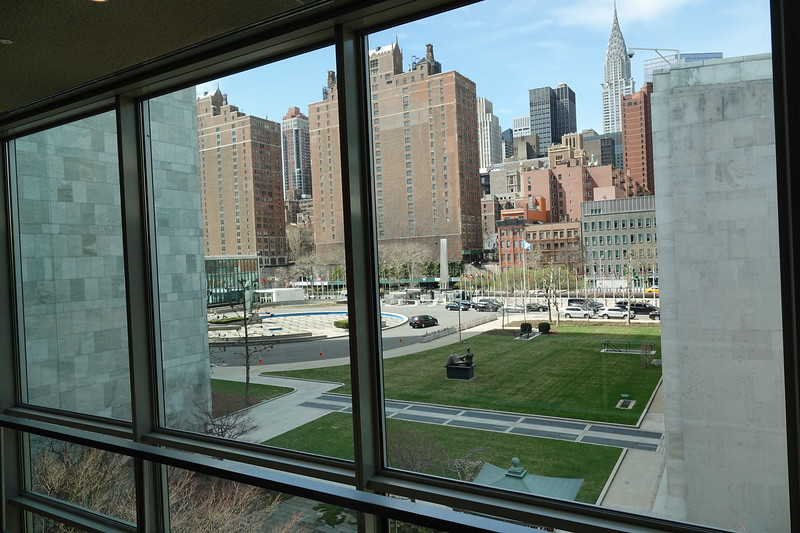 View from inside the UN complex towards First Avenue and the Chrysler Building in the distance.