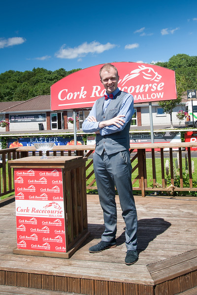 18th June 2017; Gavin Farmer from Mallow enjoying the sun at Cork Racecourse Mallow while escorting the Cork Rose Finalists 2017. Gavin is sponsored by Cork Racecourse Mallow in the Rose of Tralee 2017. Photo by Sean Jefferies Photography.