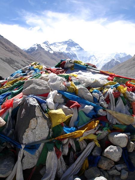 prayer flag covered rock mound at Mt.Everest, Tibet