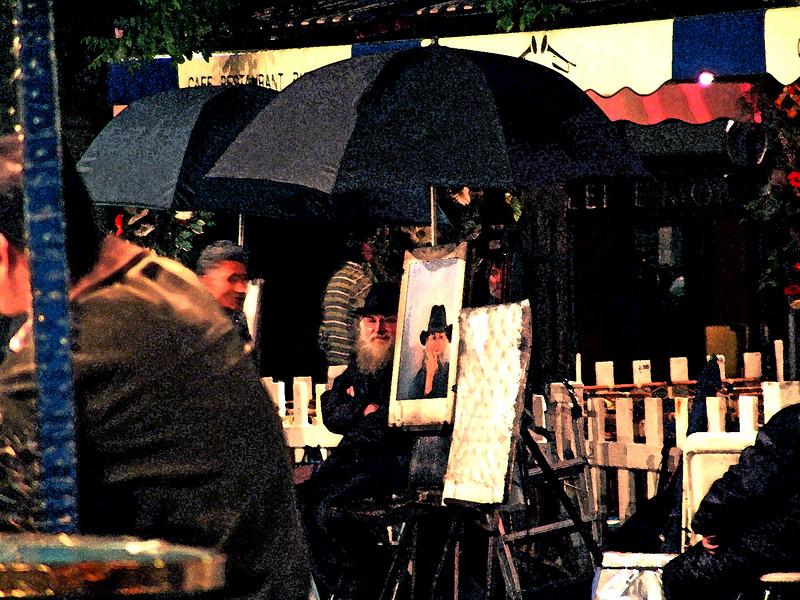 Painter with his Self Portrait, Montmartre, Paris, France