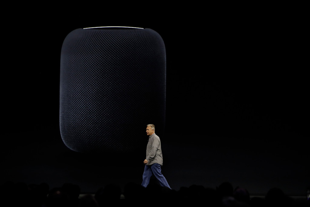 . Phil Schiller, Apple\'s Senior Vice President of Worldwide Marketing, introduces the HomePod speaker at the Apple Worldwide Developers Conference Monday, June 5, 2017, in San Jose , Calif. (AP Photo/Marcio Jose Sanchez)