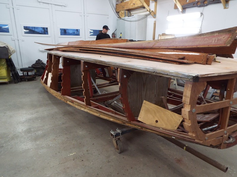 Starboard rear view with old side planks and side battens removed.