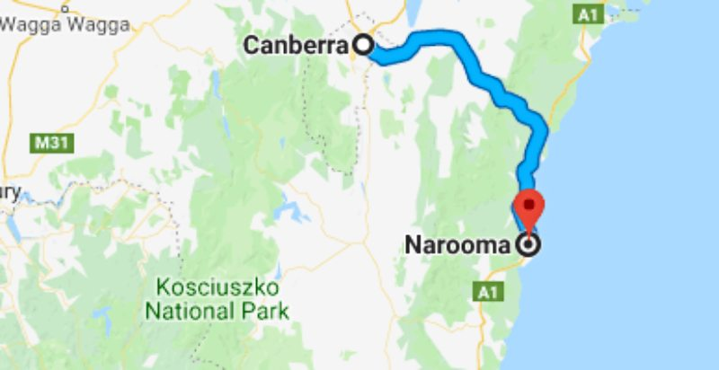 map from Canberra to Narroma